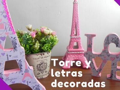 Detalles para mesa de postres de París, Letras y torre de madera.