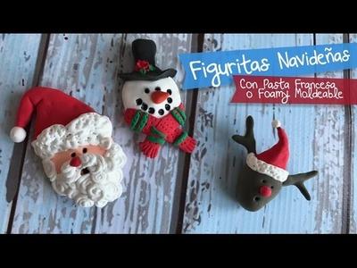 Santa, Muñeco de Nieve y Reno de Pasta Francesa :: Foamy Moldeable :: Chuladas Creativas