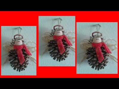 Videos angeles con piñas. Como elaborar Angeles Navideños. Manualidades navideñas para niños