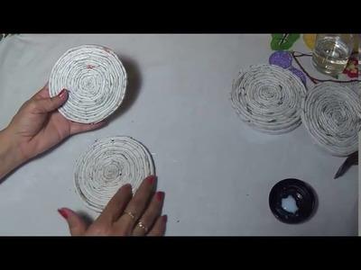 Canasta de papel periódico ( manualidades )