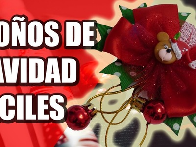 Como Hacer Moños Navidad faciles  y economicos, video 555, christmas bows with ribbon