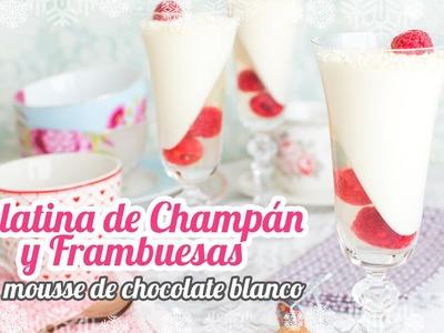 Gelatina de champán y frambuesas con mousse de chocolate blanco | Postre para Fin de año