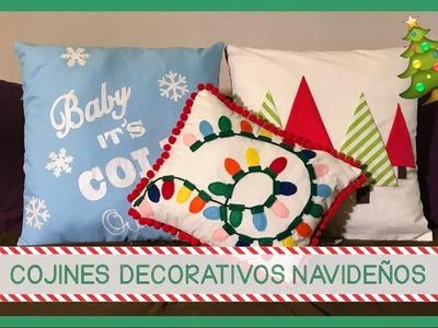 COJINES DECORATIVOS NAVIDEÑOS!!! - 3 Ideas súper fáciles y originales para Navidad!