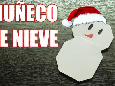 Como hacer un MUÑECO DE NIEVE Adornos navideños   Origamis de papel (Muy fácil)