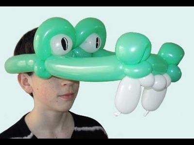 Globoflexia hacer Mascara de Cocodrilo - Como hacer sombrero de globos