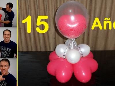 Centros de mesa para 15 años - globoflexia facil - decoración para 15 años