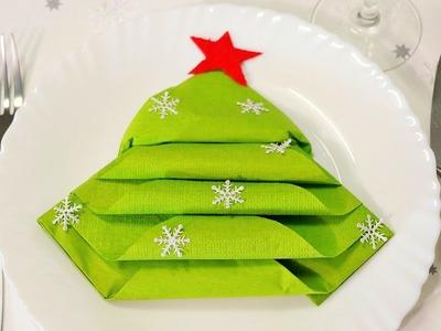 Cómo doblar la servilleta en forma de árbol de Navidad - Decoracion de Año Nuevo