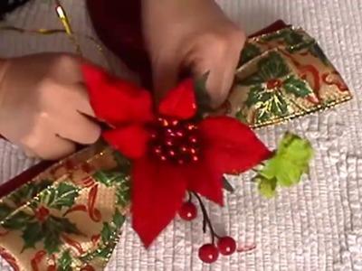 Lazo Navideño, Adornos navideños, Lazo para árbol de Navidad, adornos con cinta alambrada