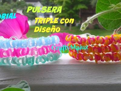 Tutorial♥ Pulsera Triple con Diseño de Gomitas. ligas (con telar)