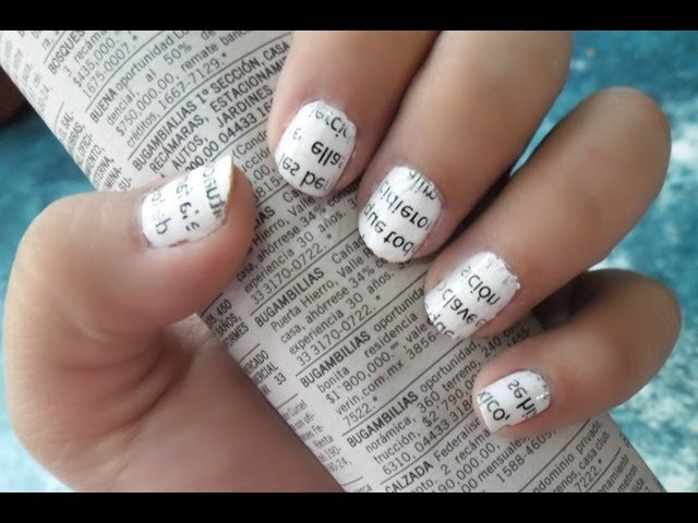 UÑAS DE PERIODICO. NEWSPAPER NAILS (Tutorial) | Mirem Itziar ❤