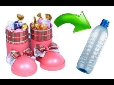 Bota navideña de botella de pet