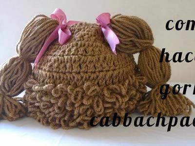 Como hacer gorro tejido de cabbachpach gorro peluca de 0 a 3 meses (SUBTITULADO)
