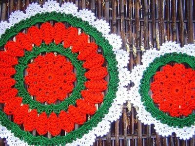 Carpetas, individual, portavasos navideño a crochet paso a paso  parte 2