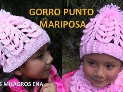 Gorro Punto Mariposa Tejido a Crochet o ganchillo paso a paso para niñas - TODAS LAS TALLAS