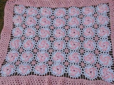 Manta.cobijita .colcha. frazada para bebe en crochet fácil y rápido Ultima parte