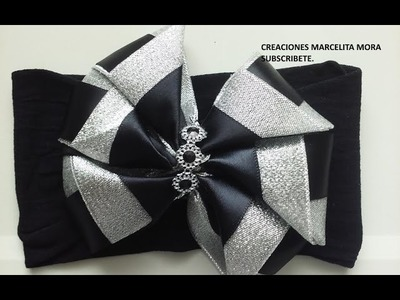 Moño Doble Color en Tiara. Bow Big Headband-Easy-DIY-