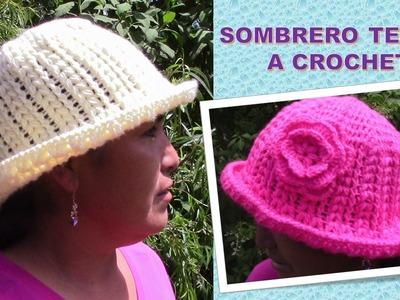 Sombrero con Flor punto Garbanzo paso a paso tejido a crochet