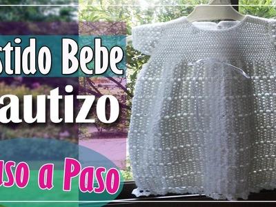 Vestido Bebe En Crochet Bautizo - Parte 1 de 2