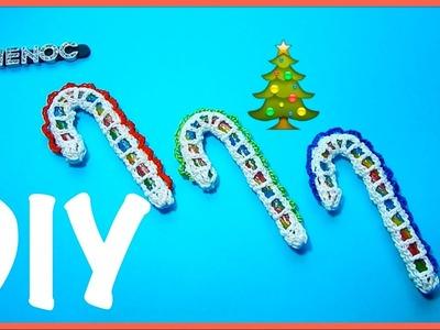 Baston decorado con tejido ganchillo, crochet candy cane ornament DIY