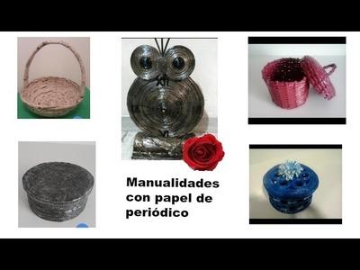 Colección de manualidades con papel de periódico. Collection of articles made of newspaper