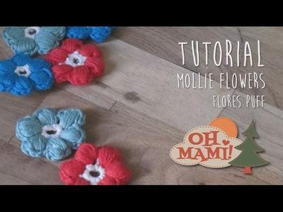 Cómo hacer y unir Mollie Flowers o Flores PUFF a crochet