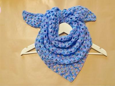 Bufanda triangular a crochet fácil, paso a paso