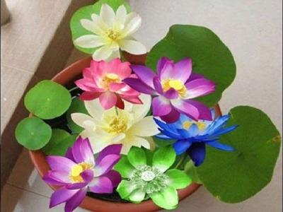 COMO HACER FLORE DE PAPEL - Flor de loto papel origami - Papel Flores Tutorial