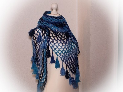 Como hacer pañoleta con borlones a crochet.