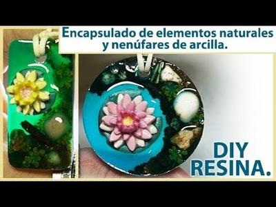 ENCAPSULADO DE ELEMENTOS NATURALES Y FLORES DE ARCILLA POLIMÉRICA O PORCELANA FRÍA. RESINA EPOXI.