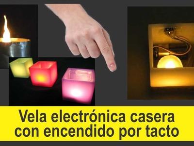Encendido de led por tacto, vela electrónica.