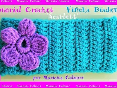 "Vincha a Crochet ""Scarlett"" por Maricita Colours"
