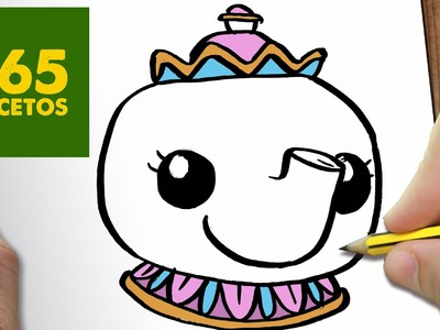 COMO DIBUJAR MRS POTTS KAWAII PASO A PASO - Dibujos kawaii faciles - How to draw a Mrs Potts