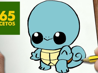 COMO DIBUJAR SQUIRTLE KAWAII PASO A PASO - Dibujos kawaii faciles - How to draw a Squirtle