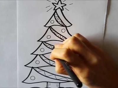 Cómo dibujar un Árbol de Navidad Decorado Dibuja Conmigo Dibujos de Navidad
