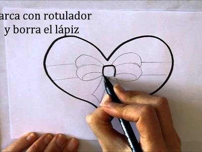Cómo dibujar un Corazón con Lazo Dibuja Conmigo Dibujos de Amor