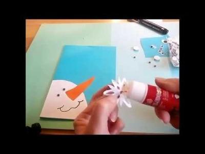 Manualidades para navidad. Cómo hacer una tarjeta Muñeco de nieve.  Como fazer um cartão