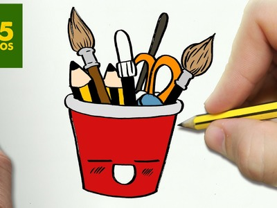 COMO DIBUJAR LAPICERO KAWAII PASO A PASO - Dibujos kawaii faciles - How to draw a pencil holders