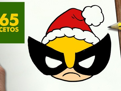 COMO DIBUJAR LOBEZNO PARA NAVIDAD PASO A PASO: Dibujos kawaii navideños - How to draw a Wolverine