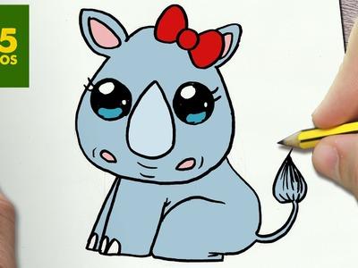 COMO DIBUJAR RINOCERONTE KAWAII PASO A PASO - Dibujos kawaii faciles - How to draw a rinho