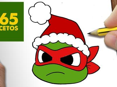 COMO DIBUJAR TORTUGA NINJA PARA NAVIDAD PASO A PASO: Dibujos kawaii navideños - draw Ninja Turtle