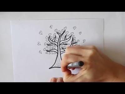 Cómo dibujar un Árbol de Corazones Dibuja Conmigo Dibujos de Amor