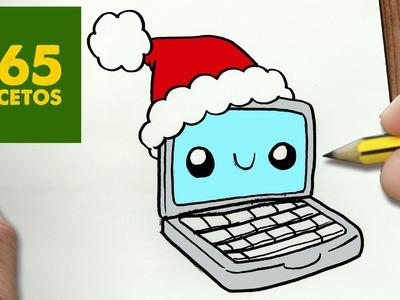 COMO DIBUJAR UN COMPUTADORA PARA NAVIDAD PASO A PASO: Dibujos kawaii navideños - draw a computer