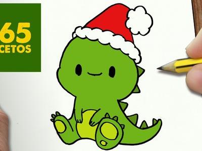 COMO DIBUJAR UN DINOSAURIO PARA NAVIDAD PASO A PASO: Dibujos kawaii navideños - draw a dinosaur
