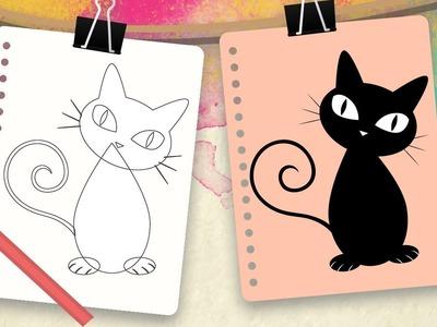 Cómo dibujar un gato para niños – Dibujos fáciles de animales - Aprender a dibujar
