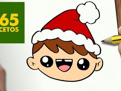 COMO DIBUJAR UN NIÑO PARA NAVIDAD PASO A PASO: Dibujos kawaii navideños - How to draw a kid