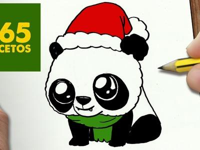 COMO DIBUJAR UN PANDA PARA NAVIDAD PASO A PASO: Dibujos kawaii navideños - How to draw a Panda
