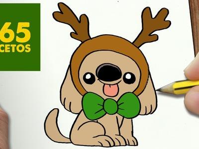 COMO DIBUJAR UN PERRO PARA NAVIDAD PASO A PASO: Dibujos kawaii navideños - How to draw a dog