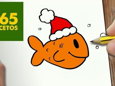 COMO DIBUJAR UN PEZ PARA NAVIDAD PASO A PASO: Dibujos kawaii navideños - How to draw a fish