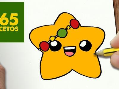 COMO DIBUJAR UNA ESTRELLA PARA NAVIDAD PASO A PASO: Dibujos kawaii navideños - How to draw a Star