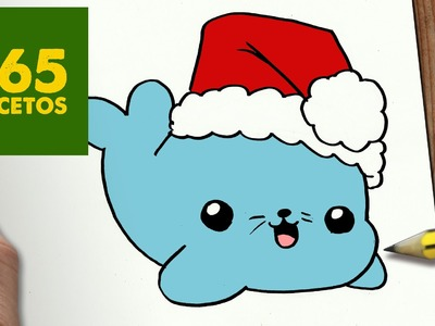 COMO DIBUJAR UNA FOCA PARA NAVIDAD PASO A PASO: Dibujos kawaii navideños - How to draw a Seal